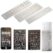 Loghot Set of 7 Creative Stainless Steel Portable Drawing Graffiti Web UI/IOS/Number Alphabet 60 Apertures Rectangle Template Ruler Stencils