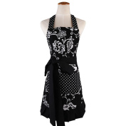 Women's Original Floral Apron with Pockets, Adjustable Long Ties for Kitchen Cooking, Baking and Gardening, 54 x 73 cm