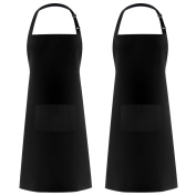 InnoGear 2 Pack Unisex Adjustable Bib Apron Waterproof with 2 Pockets Cooking Kitchen Aprons for Home Kitchen,Restaurant,coffee house