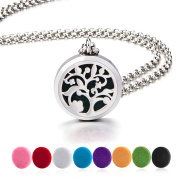 BESTTERN Aromatherapy Essential Oil Diffuser Necklace 316L Surgical Grade Stainless Steel Living Locket With 70cm Chain and 8Pads