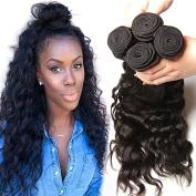 KLAIYI Virgin Brazilian Natural Wave Curly Hair Bundles Human Hair Weft Weave Extensions 95-100g/ bundle pack of 3 Natural Colour