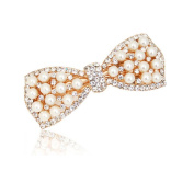 Casualfashion 1Pcs Korean Style Crystal Rhinestone Hair Barrettes Butterfly Pearls Hair Clips Pins for Women Girls