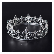 FF Men's Full Round Fleur De Lis King's Crown for Prom & Party
