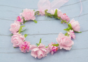 Merroyal Rose Flower Hair Crown Wreath Headband Headdress with Adjustable Ribbon for Weddings Festivals