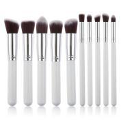 Pinkiou Foundation Powder Brush Kabuki Concealer Blush Makeup Eye Shadows Eye brushes Pack of 10