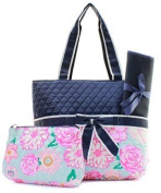 Quilted Flower 3pc Nappy Bag Set
