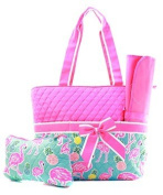 Quilted Flamingo with Pineapple 3pc Nappy Bag Set