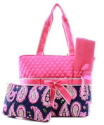 Quilted Paisley 3pc Nappy Bag Set
