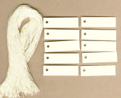 """100 Blank IVORY Hang Tags (1.3cm x 2"""") & 100 Ivory Cut Strings for Crafts & Gifts. Personalise & Price your merchandise."""