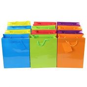 Adorox (12 Assorted Gift Bags) Large or Small Bright Neon Coloured Party Present Paper Gift Bags Birthday Wedding All Occasion