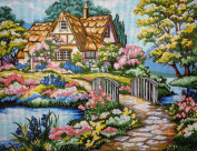 "Needlepoint Kit ""T. Kinkade Cottage"" 15.7""x11.8"" 40x30cm printed canvas 071"