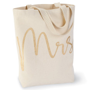 Mud Pie 4485034 Wedding Mrs. Canvas Tote Bag,Mrs