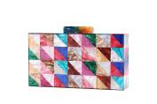 Women Colourful Box Clutch Handbag Clear Acrylic Evening Bags Cross Body Purse