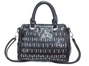 Zzfab Column Gem Stone Sparkle Handbag Boston Bag Black