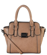 Diophy PU Leather Front Logo Small Trapeze Handbag Womens Purse with Removable Strap AB-040