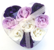 Valentine Purple Rose Bath Bomb, Nine Colourful Charing Rose Flowers in a heart gift box. 20