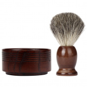 FTXJ Men's Face Care Set Shaving Brush+Natural Wood Mug Bowl+Hand Made Soap
