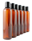 240ml Empty Plastic Squeeze Bottles with Disc Top Flip Cap (6 pack); BPA-Free Containers For Shampoo, Lotions, Liquid Body Soap, Creams