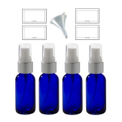 Cobalt Blue Glass Boston Round Silver and White Treatment Pump Bottle - 30ml (4 Pack) + Clear Travel Bag