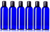 Plastic Bottle 120ml Cobalt Blue PET Cosmo Bullet Round BPA-Free with Hand Press Smooth Black Disc Cap Lid, Pack of 6