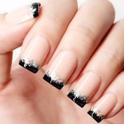 Bridalvenus 24Pcs/Set Bridal False Nails Set Full Cover Short Square French Nude Pink and Black Fake Nail Tips with Design Press on Nails with Glue and Adhesive Tab for Women and Girls