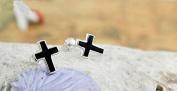 Black cross sterling silver stud earring design gift jewellery for women/men