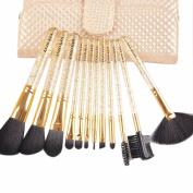 Sanling 12 pcs Makeup Cosmetic Eyeshadow Foundation Concealer Brush Set leather case