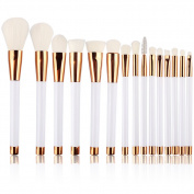 Summifit 15 Pcs Professional Makeup Brushes Set Powder Foundation Contour Blending Eyeshadow Eyeliner Bronzer Lip Brush Kit
