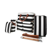5 in 1 Baby Nappy Bag Black and White Stripe Cotton Canvas with Changing Pad, Milk Bottle Bag ,Handbag,2 Stroller Straps