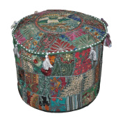Indian Ottoman Patchwork Pouffe Cover, Handmade traditional Pouffe Cover Embroidery Work Foot-Stool