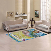JC-Dress Area Rug Girl In a Headdress with a Feather Modern Carpet 1.5mx0.9m