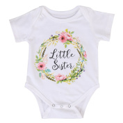 Newborn Baby Girls Romper Tops White Shirt Sisters Outfits Clothes Set- Ma & Baby