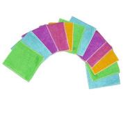 12pcs Home kitchen Bamboo Fibre Cleaning Cloths Dishcloths Rags Wash Cloths D...