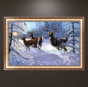 Wrisky DIY 5D Diamond Painting Embroidery Snow Deers Cross Crafts Stitch Home Decor