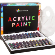 Acrylic Paint Set By Colour Technik, Professional Artist Quality, Palette Included, 24 Aluminium Tubes, Best Colours For Painting Canvas, Wood, Clay, Fabric, Nail Art and Ceramic, Rich Pigments, Gift Me