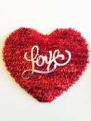 "Valentine's Day Red Tinsel ""Love"" Heart Decoration"