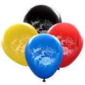 """Super Hero Balloons (16 pcs) Bam Zap Ka-Pow Sound Effects in """"Comic Book"""" Colours by Nerdy Words"""