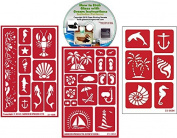 Nautical Stencil (3) Pack of Beach , Palm Tree, Sea, Shells, Mermaids, Anchor, etc