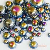 (550pcs, Fantasy Black AB) Mixed Size 3/5/8/10mm Half Round Flat Back Pearl Resin Cabochons Scrapbooking Art Nail Craft