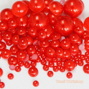 (550pcs, Red) Mixed Size 3/5/8/10mm Half Round Flat Back Pearl Resin Cabochons Scrapbooking Art Nail Craft