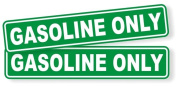 2-Pc Defectless Popular Gasoline Only Car Stickers Self-Adhesive Weatherproof Emblem Stick Size 2.5cm - 0.6cm x 15cm - 0.6cm Colour White and Green
