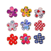 Mixed Colours of Wintersweet Shaped in Bulk Wooden Buttons for Sewing and Crafting,Pack of 50pcs