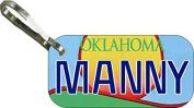 Personalised Oklahoma Sun Zipper Pull State Licence Plate Replica