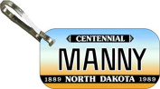 Personalised North Dakota 1989 Zipper Pull State Licence Plate Replica