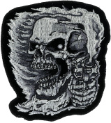 Skull With Pistol Pointed 10cm Embroidered Patch NOVPA2880