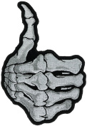 Thumbs Up Skelton Hand 13cm Embroidered Patch NOVP9110