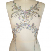 Pure Handmade Sumptuous Exquisite Rhinestones sequins beads Sew on For Dress Delicate Glitter Wedding Applique Trim DIY Accessorie,Chest decoration 28x52cm
