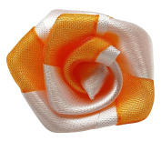 Ribbon Fabric Floral Pattern Handmade Crafting Orange Appliques Sewing Supply