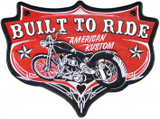 29cm Big BUILT TO RIDE AMERICAN KUSTOM Motorcycle Chopper Rider Biker Hog Outlaw Back Jacket T-shirt Patch Sew Iron on Embroidered Sign Badge Costume