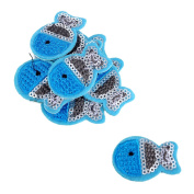 HOUSWEETY 10pcs Blue Fish Embroidered Iron On / Sew On Badge Applique Patch